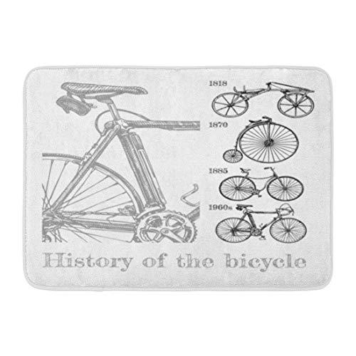 Badematte Fahrrad Evolution in Tinte Stil Typen Zyklen Draisine Penny Farthing Sicherheit und Moderne Rennrad Badezimmer Dekor Teppich