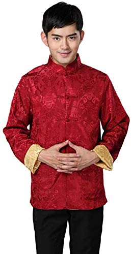 Men Chinese Clothing Suit Tang - Wing Chun Shaolin Tai Chi Traditional Costume Martial Arts Kung Fu Long Sleeve Double Sided Jacket Uniform Shirt