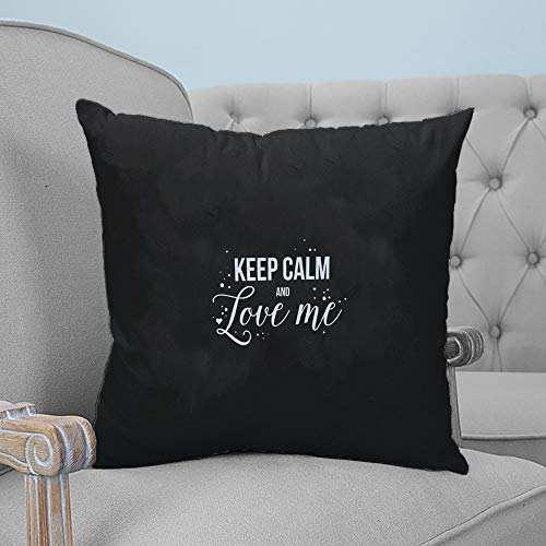 ARTSHOWING Pillow Covers Romance Text 26x26 inches Canvas Couch Throw Pillows Zippered Square Pillow Case for Home Bedroom Living Room Cushion Cover Keep Calm and Love Me