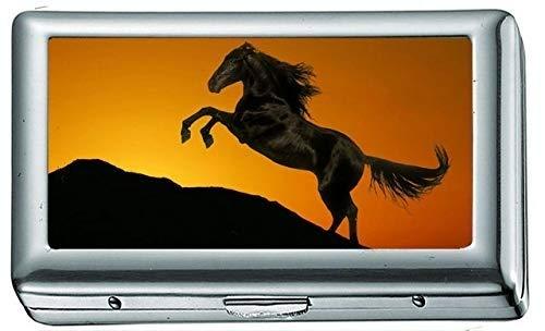 Silhouette Pferde Sonnenaufgang Sonnenuntergang Himmel Zigarettenetui / -schachtel Visitenkartenetui Edelstahlgehäuse Silber Metall Brieftasche Schutz