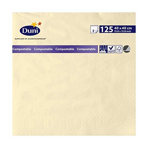 Duni 179001 2 plis Serviettes en papier, 40 cm x 40 cm, crème (lot de 1250)