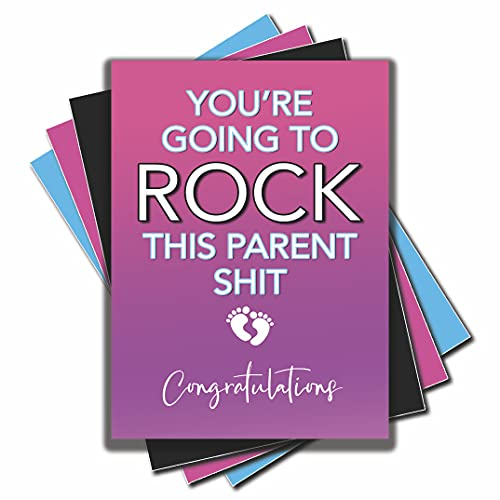 DKISEE Tarjetas de embarazo Nuevas tarjetas de bebé You'Re Go To Rock This Parent Shit Felicitaciones Mummy To Be Pregnant Best Friend Work Colleague C550