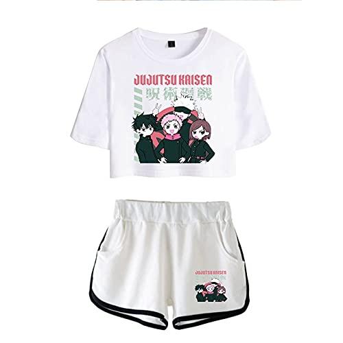 YZJYB Jujutsu Kaisen Yuji Itadori Gojo Satoru Outfit Camiseta de Manga Corta para niños Pantalones Cortos Conjunto Casual de 2 Piezas,White a,L