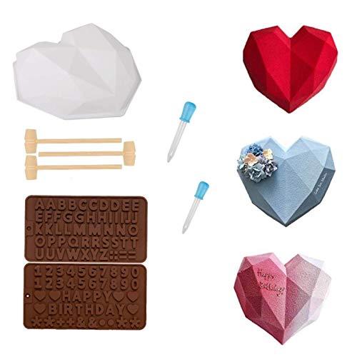 3D Diamante Corazón Forma Silicona Molde,DIY Heart Chocolate Postre Hornear Molde,Molde de silicona con forma de corazón de diamante,Moldes de silicona para chocolate con letras y números (1)