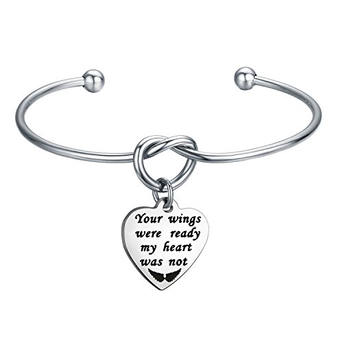 WUSUANED Memorial Jewelry Your Wings were Ready My Heart was Not Bracelet Necklace Loss of Loved One Gift (Your Wings were Ready Bracelet)