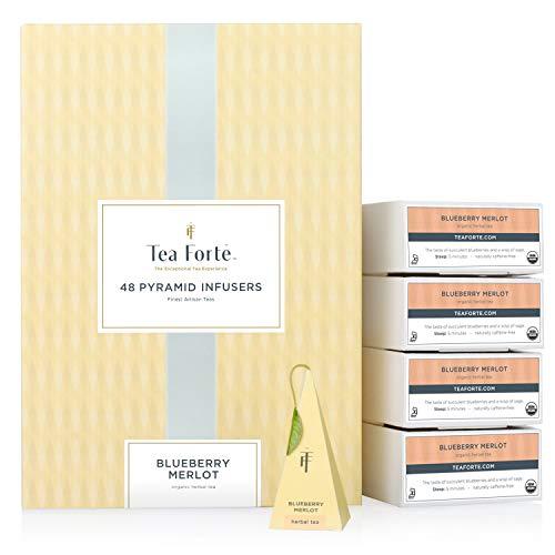 Tea Forte Blueberry Merlot Herbal Tea Event Box Bulk Pack, 48 Handcrafted Pyramid Tea Infusers
