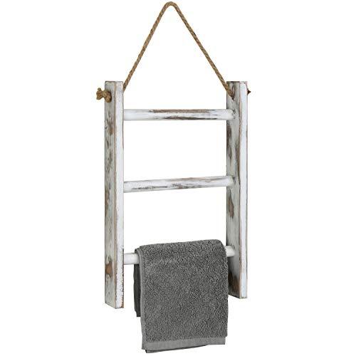 mini hand towel storage ladder in whitewashed wood