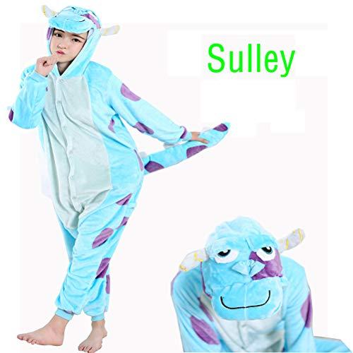 JYCDD Pijama Vaca Azul Sullivan Animale Disfraz Stitch Traje Niños Niña Dulto Mujer Otoño Invierno Cosplay Halloween Y Navidad Ropa De Salón Pijamas Otoño Invierno,Blue Bull,S
