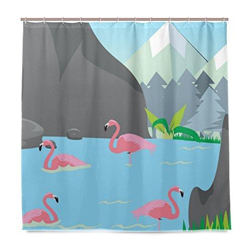 BALII Cartoon Flamingo Habitat Duschvorhang 183 x 183 cm Polyester wasserdicht mit 12 Haken für Badezimmer