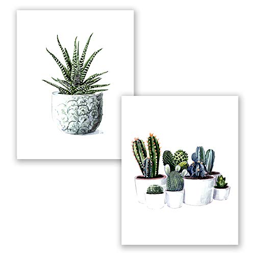 AtoZStudio A65 Succulent Wall Art Decor - Set of 2 Cactus Poster Print // Green Watercolor Cacti Plant Painting Picture // Vintage Classroom Artwork (8x10)