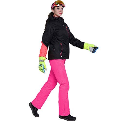 Lvguang Damen Sport Style wasserdichte Schnee Jacke Winddicht Volltonfarbe mit Kapuze Bergsteiger Ski Jacke & Ski Hose (Pink#1, Asia L)