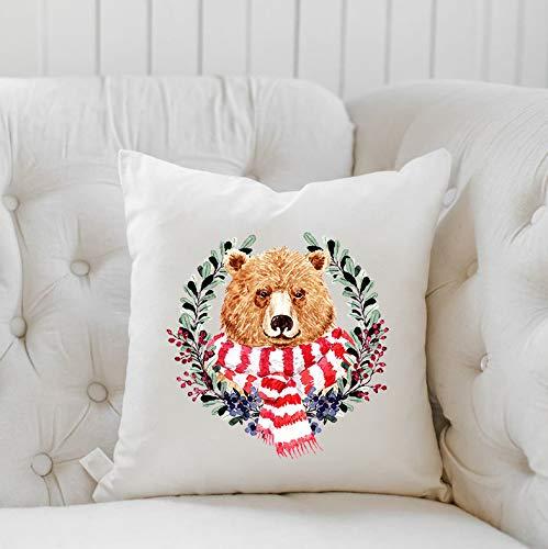 Funda de almohada de oso de Navidad,Decoración de casa de granja,Regalo de inauguración de la casa, regalo para Navidad