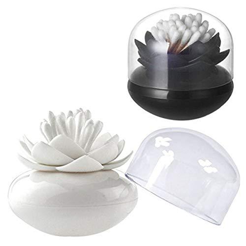 LIOOBO Supporto per Cotton fioc Lotus Form Qtip Dispenser stuzzicadenti Pennello Box Organizer in Vetro con Coperchio Antipolvere Copertura Rosa