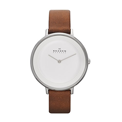Skagen Damen Analog Quarz Uhr mit Leder Armband SKW2214