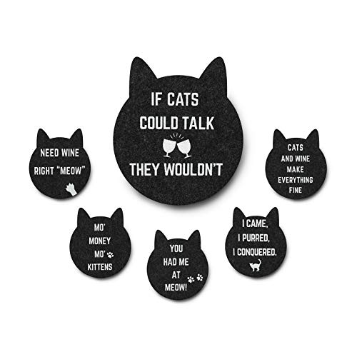 Funny Coasters | Bar Coasters | Absorbent Drink Coasters (6-Sayings) | Unique Coaster Set | New House Warming Presents, Cool Stuff, Apartment Decor, Fun Table Coasters| Funny Cat Coasters, Cat Gifts