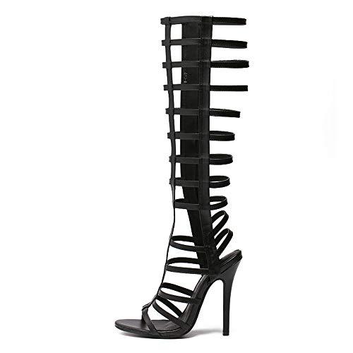 Womens Gladiator Sandalen, Sommer Casual Kniehohe Römische Stiefel Riemchen Open Toe Stiletto Sandalen High Heels,Schwarz,EU39