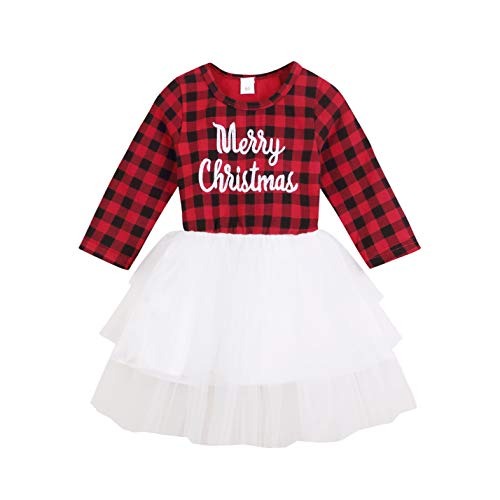 Infant Baby Girls Christmas Dress Merry Christmas Red Plaid Tulle Lace Tutu Princess Dresses Xmas Outfit (12-18 Months, Red)