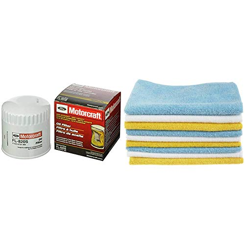 Motorcraft FL-820-S Oil Filter + AmazonBasics Blue and Yellow Microfiber Cleaning Cloth, 24-Pack