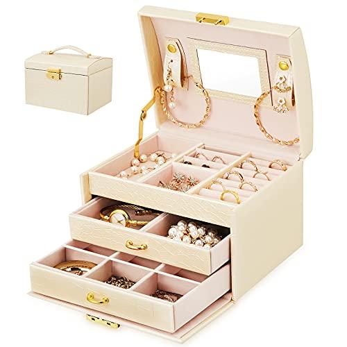 Cajas de joyería para mujer, 3 capas, organizador de joyas de viaje, caja con cerradura y espejo y mango para pendientes, collares, pulseras y anillos