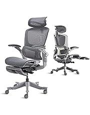 YEATION オフィスチェア 人間工学 デスクチェア 社長椅子 ゲーミングチェア メッシュ 135度リクライニングチェア 調節可能なヘッドレスト/背もたれ/4Dフリップアップアーム付き ハイバック 首痛 腰痛サポート 事務用 勉強用 テレワーク用
