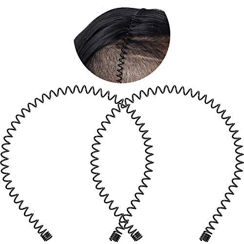 2 Paquets Bandeau au Dos Lissé, Bandeau en Métal Noir de Mode de Sports Extérieur, Bandeaux Unisexe, Bandeau Antidérapant, Accessoires de Cheveux Élastiques pour Yoga Sports Extérieur (Grand Ressort)