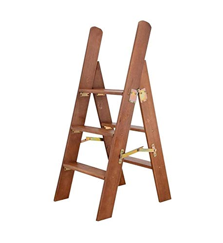 Las escaleras de madera Las escaleras de tijera de madera maciza escalera multifunción plegable taburete de paso con 3 Pasos for el hogar - 2 colores Las escaleras de madera ( Color : A )