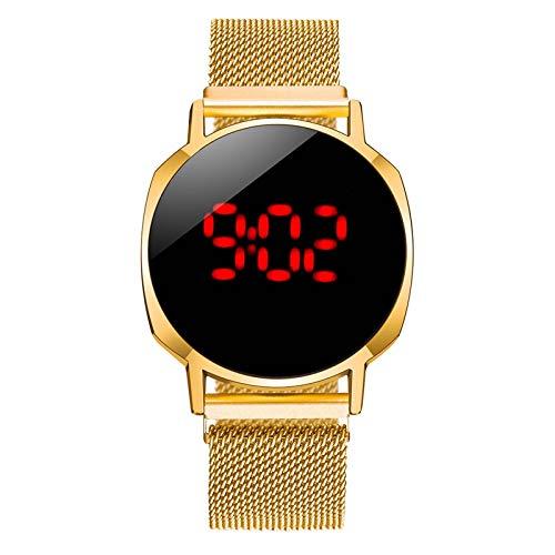 JZDH Relojes para Mujer Relojes de imán Digital para Mujeres Vestido de Acero Inoxidable de Oro Rosa LED Reloj de Cuarzo LED Reloj Hembra Relojes Decorativos Casuales para Niñas Damas (Color : 1pcs)