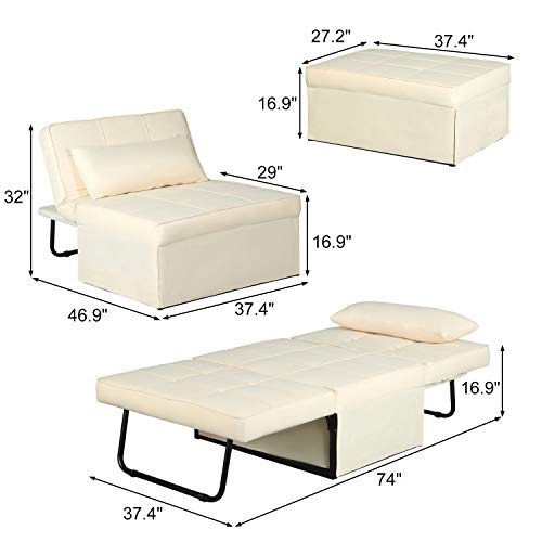 Chaise Lounge Chair Convertible Chair Folding Sofa Bed 4 in 1 Multi-Function Adjustable Ottoman Guest Bed Ottoman Bench Convertible Sofa for Small Room Apartment (Beige)