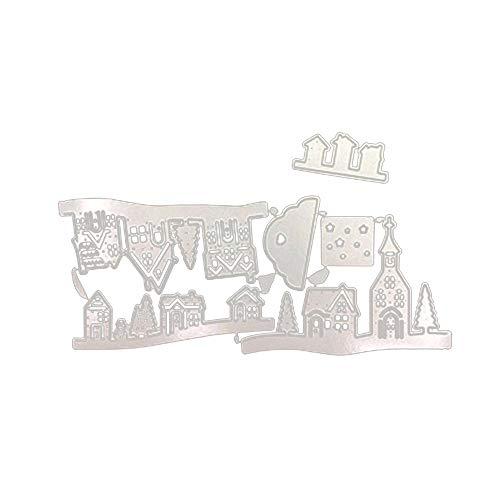 SMTHOME Weihnachten Stanzformen Sets Weihnachten Haus Dorf Stanzformen Baum Schneemann Schablone für Selbstgemachte Karten Album Decor DIY