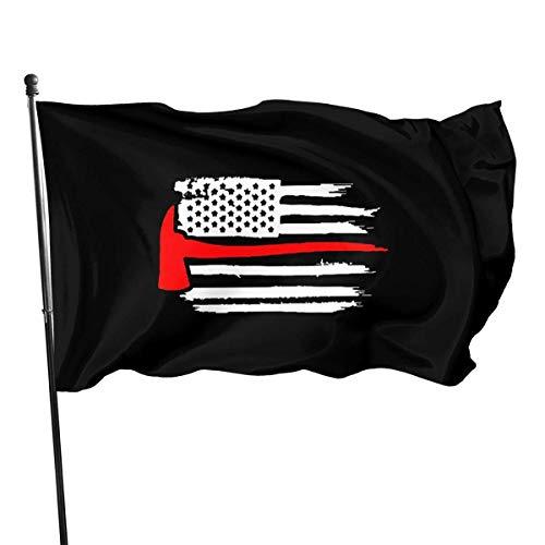 N/A Amerikaanse vlag dunne rode lijn brandweerman bijl brand outdoor vlag 4x6 voeten decoratieve vlag voor achtertuin, huis, partij