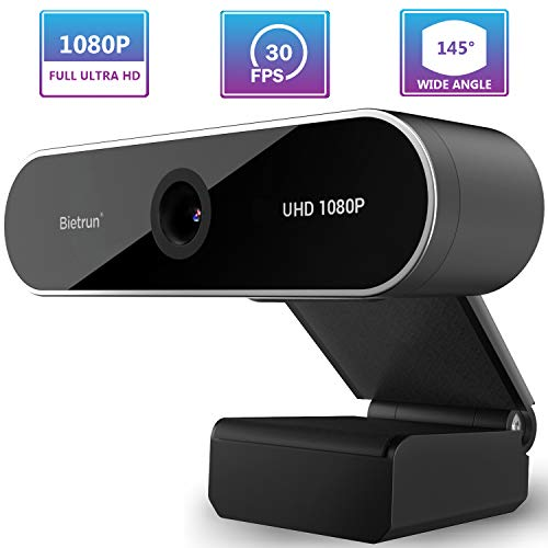 1080P Webcam with Microphone&Privacy Cover, Full UHD, 30FPS, 145° Wide Angle, 2 Megapixel, Desktop Computer Streaming USB Web Cameras, for Win7/8/10, Mac, Skype, Video Call, Meeting, Zoom (Plug&Play)