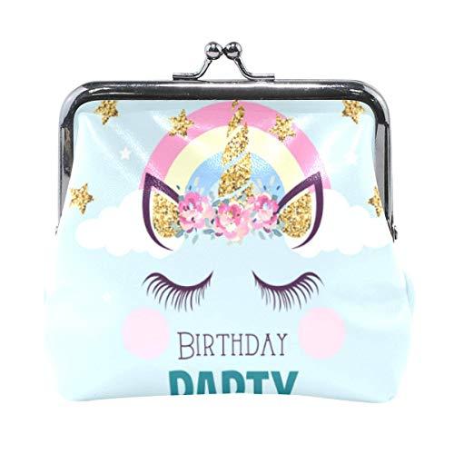 ANINILY Invitation de fête d'anniversaire avec porte-monnaie licorne en cuir pour femme et fille avec boucle de verrouillage Kiss-Lock