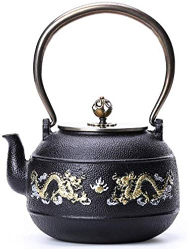XIUYU De Hierro Fundido Tetera Japonesa Tetera de Hierro Fundido Tetera, Esmalte for la elaboración de té más rápido y Menos oxidados Calefacción teteras (Color: Negro, Tamaño: 1200 ml)