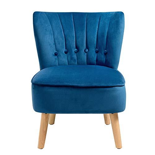 DREAMADE Retro Samt Polsterstuhl, Relax Sessel mit Rücklehne ohne Armlehne, Vintage-Sessel Wohnzimmerstuhl für Wohnzimmer, Esszimmer, Küche,110 kg Belastbarkeit (Blau)