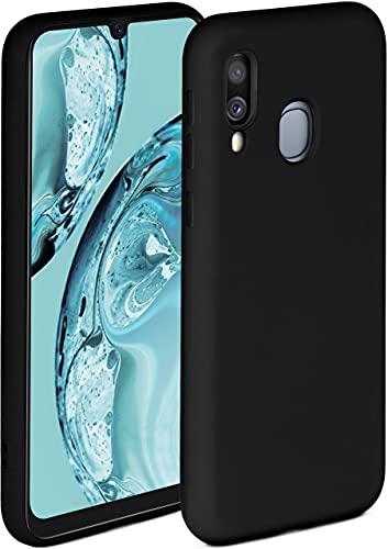 ONEFLOW Soft Hülle kompatibel mit Samsung Galaxy A40 Hülle aus Silikon, erhöhte Kante für Displayschutz, zweilagig, weiche Handyhülle - matt Schwarz