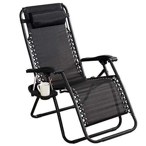 Liegestuhl Klappbar Set Mit Getränkehalter Und Kopfpolster, Schwerelosigkeit Liege Terrasse Faltbare Liege Verstellbar Rückenlehne Sonnenliege Gartenliege,Schwarz
