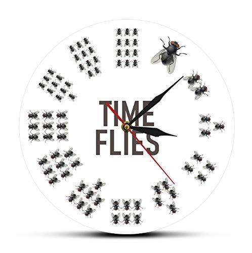 Vliegen geïnspireerde tijd- en vliegenklok voor de muur, geen cijfers, tijdloos, modern