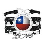 チリの国旗のサッカー・ワールドカップ 愛のアクセサリーツイストレザーニットロープリストバンド編み