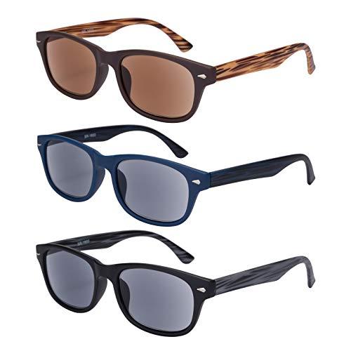 EYEGUARD Lesesonnenbrille, 3er-Pack, UV400-Schutz, für den Außenbereich, klassisch, modisch, Leserbrille für Damen und Herren (3 Farben, 2,00)