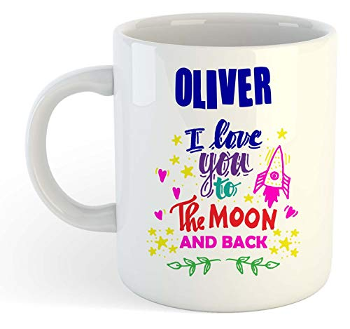 Oliver - Taza con texto en inglés 'I Love You to The Moon and Back', diseño con texto 'I Love You to The Moon and Back', color