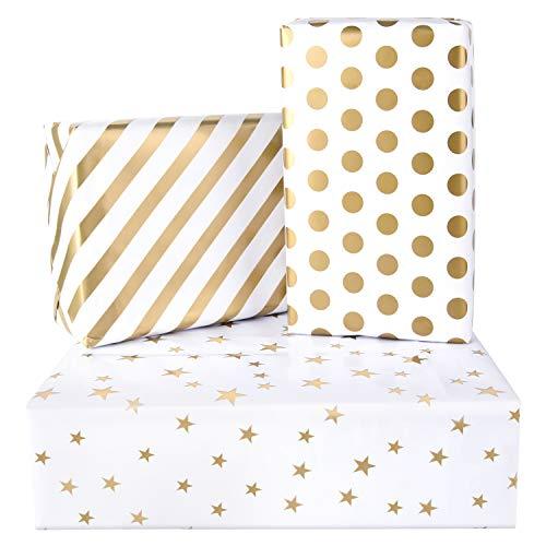 PLULON 6 fogli Regalo Avvolgimento Carta Compleanno, Carta da imballaggio per il matrimonio, Compleanni, San Valentino, Natale