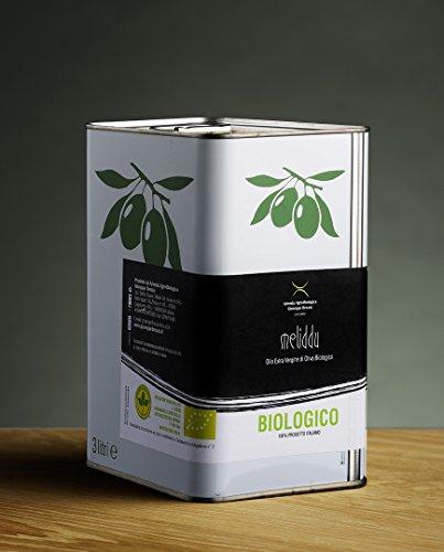 3 l - Meliddu, Olio extravergine di oliva biologico sardo, prodotto a Castelsardo, Sardegna