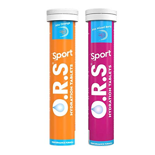 O.R.S Sport Hydration Tablets with Electrolytes, Magnesium and Vitamin D, Low Calorie Vegan Formula - Natural Orange and Mixed Berry Flavour, 2x20 Tablets