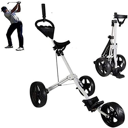 3-Wheel Golf Trolley With Kettle Stand Scoreboard Golf Caddy Lightweight Trolley Sport Training Match Airport Luggage Check Carrier Cart Golf Caddy