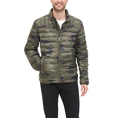 Tommy Hilfiger Men's Lightweight Water Resistant Packable Down Puffer Jacket (Standard and Big & Tall), olive camouflage, Medium