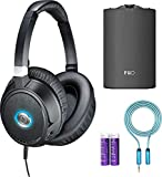 Audio-Technica ATH-ANC70 QuietPoint Active Noise Cancelling Headphones Bundle with FiiO A3 Portable Headphone Amplifier, Blucoil 6-Ft Extension Cable and 2-Pack of AAA Batteries