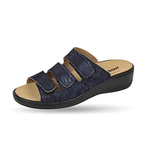 Weeger Orthopädische-Pantolette mit auswechselbarem Fußbett blau metallic Gr. 39 thumbnail