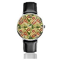 腕時計 アボカド ウオッチ クォーツムーブメント 革バンド 生活防水 耐衝撃 ビジネス ファッション 軽量 高級 男性女性用