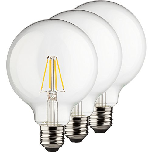 MÜLLER-LICHT 400202 A++, 3er-SET Retro-LED Lampe Miniglobe ersetzt 75 W, Glas, E27, weiß, 9.5 x 9.5 x 14 cm dimmbar