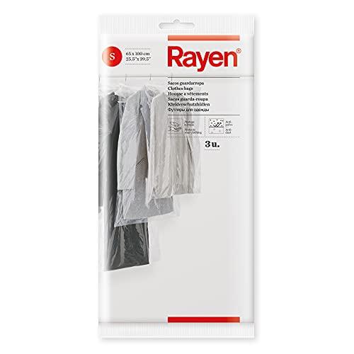 Rayen Saco guardarropa | Funda Armario | Protege Protectores de Ropa Antipolvo | Pack de 3 | Talla S | 65 x 100 cm 3 Bolsas para Guardar, Polietileno, 3